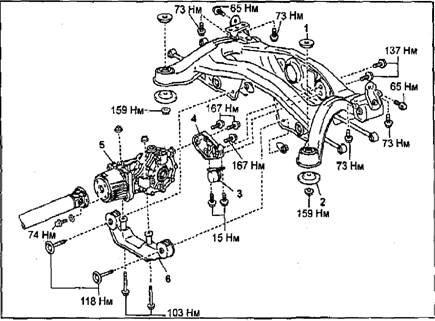 Снятие редуктора заднего моста (модели 4WD). Узлы и детали