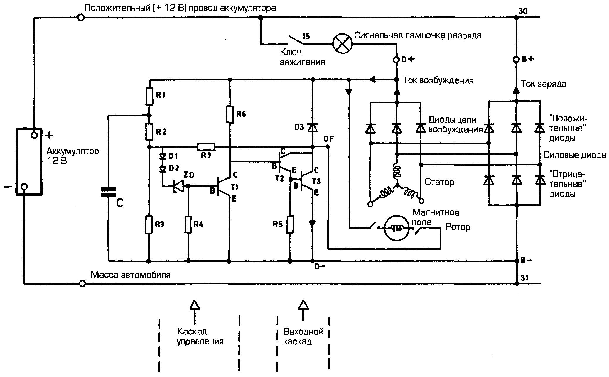 схема соединения генератора тойота