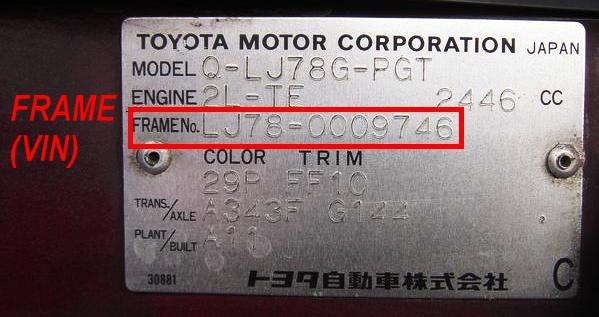 Где находится ВИН код у авто Тойота РАВ4